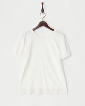 オフホワイト●裾レース切り替えTシャツ○62-1733