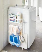 ホワイト 洗濯機横マグネット収納ラック プレート