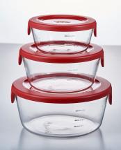 レッド 耐熱ガラス製保存容器丸 3個セット
