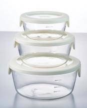 オフホワイト 耐熱ガラス製保存容器丸 3個セット