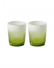 グリーン●Faceted グラスタンブラー2個セット○GLTUM-FA