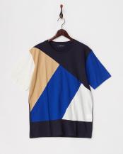 ネイビー●ランダムパッチワークTシャツ○122-11-0238