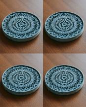 ブラック●珪藻土コースター Plus デザイン 4枚セット○02-33190*4