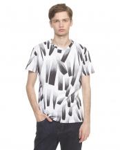 ホワイト●グラデーションプリントTシャツ○F8