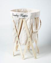 アイボリー×ナチュラル●ナチュラルな洗濯かご Laundry Hamper(ランドリーハンパー)○EF-LH01