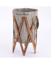 グレー×ブラウン●ナチュラルな洗濯かご Laundry Hamper(ランドリーハンパー)○EF-LH01GYBN