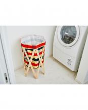 チェック×ナチュラル ナチュラルな洗濯かご Laundry Hamper(ランドリーハンパー)