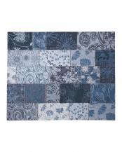 ブルー ウネモ 200×200 ベルギー製ゴブラン織ラグ