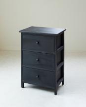 ブラック 木製3段チェスト armadio