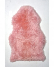 ピンク 天然ムートンの長毛ミニラグ 60×90cm