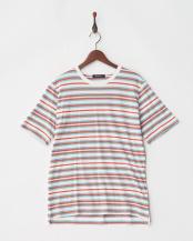 ホワイト●マルチボーダーTシャツ S/S○9999171210395