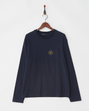 ネイビー●10/-天竺ポケットTシャツ L/S○9999171210539