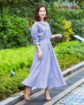 ブルー●ストライプシャツ×スカートセットアップ○BTXN0139