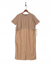 モカ●Tシャツドッキングブラウスワンピース○16624