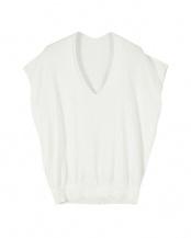 ホワイト●裾リブコットンライトニット○ATXP1938