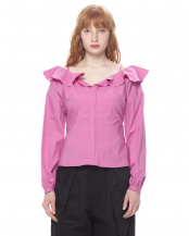 PINK●RUFFLED COTTON POPLIN BLOUSE○GV1811058