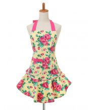 YELLOW ROSE DOTS●Mary Jean apron○KHMA-27YRD