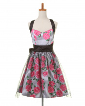 PINK ROSES STRIPES●Lexy Dress Apron○KHLA-PST03