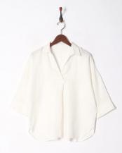 オフホワイト●フレンチリネンスキッパーカラーシャツ○92-1625