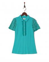 55/緑系H(グリーン)●リボンチュール袖のシャツカットソー○23160163
