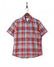 レッド●フレンチリネンチェックシャツ SS○9999181210024
