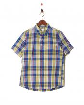 ブルー●フレンチリネンチェックシャツ SS○9999181210024