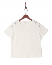 オフホワイト●星刺繍Tシャツ○001648