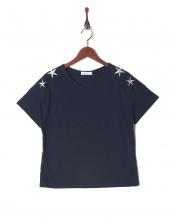 ネイビー●星刺繍Tシャツ○001648