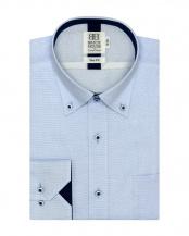 ブルー系●スリム 長袖 メッシュインナー ワイシャツ 形態安定 ドゥエボットーニ ボタンダウン サックス×市松格子織柄○BM018200AB11V3M