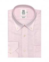 ピンク系●ワイシャツ 長袖 形態安定 Wガーゼ ドゥエボットーニ ボタンダウン 綿100% ピンク×無地調織柄 スリム○BM018200AC11V4G