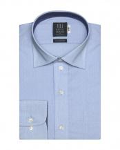 ブルー系●ワイシャツ 長袖 形態安定 ワイド 綿100% ブルー×小紋織柄 標準体○BM018200CP12W4A