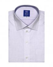 パープル系●ワイシャツ 半袖 形態安定 ワイド 白×パープル刺子調柄 新体型○BM018201AC45W1A
