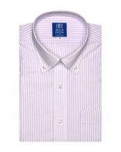 ピンク系●ワイシャツ 半袖 形態安定 ドゥエボットーニ ボタンダウン 白×パープルストライプ 新体型○BM018202AC45V1A