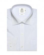 ブルー系●ワイシャツ 長袖 形態安定 ワイド 白×サックスストライプ スリム○BM018507AA11W1A