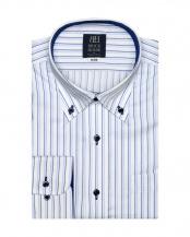 ブルー系●ワイシャツ 長袖 形態安定 ボタンダウン 白×サックス、ネイビーストライプ 標準体○BM018511AA12B1A