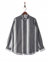 グレー●デニム風 ワイドストライプ ホリゾンタルカラー 長袖シャツ○4108425002