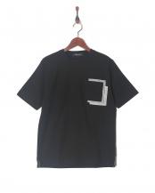 ブラック●異素材クレイジーポケットTシャツSS○6728124501