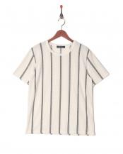 ホワイト●ジャガードストライプTシャツ SS○6728224009