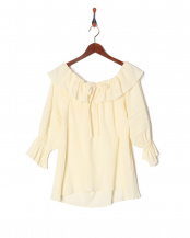 ホワイト●Cotton Crepe de chine Blouse○189203022