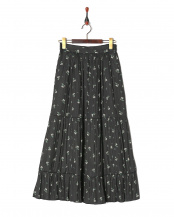 ブラック●Original Flower Print Pleats Tiered Skirt○189206029