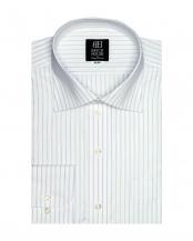 ブルー系●形態安定 ノーアイロン 長袖ワイシャツ ワイド  白×ブルーストライプ○BM019103AB15W1Z