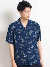 ネイビー●アロハガラプリントオープンカラーシャツ[WEB限定サイズ] a.v.v HOMME○KHBGG41049
