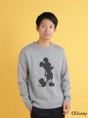 グレー●DISNEY(ディズニー)/シルエットミッキーマウスデザインアクリルジャガードクルーネックニット[WEB限定サイズ] a.v.v HOMME○KHFAG24049