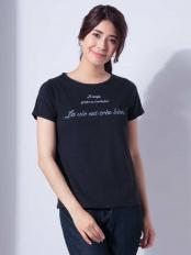 ブラック●ロゴ刺繍Tシャツ[WEB限定サイズ] a.v.v○K2KHD33024