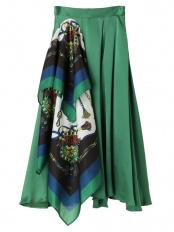 グリーン スカーフドッキングマキシスカート UN3D.○521910800601