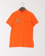 オレンジ● ロゴ 半袖ポロシャツ○7123113041217