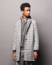 Gray●KOE×THOM BROWNE. CHECK OVERCOAT○K8173I30030