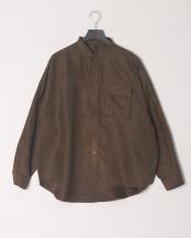ブラウン●ポリスウェードバンドカラールーズシャツ○294007H