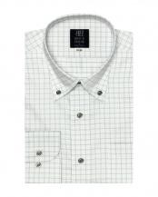 グレー系●形態安定 ノーアイロン 長袖ワイシャツ ボタンダウン 白×グレーチェック○BM017601AC12B3W