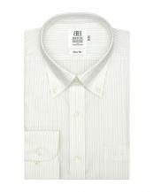 グリーン系●形態安定 ノーアイロン 長袖ワイシャツ ボタンダウン 白×グリーンストライプ○BM016501AA11B1A